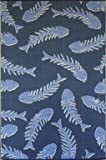 Mad Mats Fishbone Indoor/Outdoor 5 x 8 Navy / Periwinkle