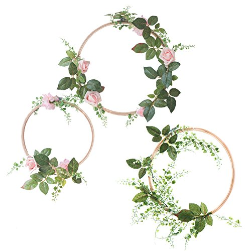 Ling's moment Summer Greenery Wedding Handcrafted Vine Wreaths Set of 3, Christmas Decor Rustic Wedding Backdrop, Artificial Roses Plant Flower Garland, Woodland Wedding Decoration Floral Hoop ()