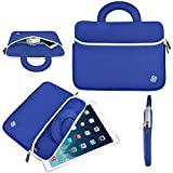 "10.1 Inch Tablet Sleeve, KOZMICC Tablet Case Cover (Blue/White) w/ Handle, Premium Neoprene, Front Pocket for Apple iPad (All), iPad Pro 9.7"" Inch, nabi 2, Samsung Galaxy Tab 4 / S / A / Note, Dell Venue Pro 10 7000 5000, ASUS Transformer Pad / Book T100 Chi TF300T TF103C, Lenovo Yoga Tablet / Miix / A / TAB 2 10, HP 10 / 10 Plus / Pavilion x2, Acer Iconia Tab 10, Toshiba Encore, TRIO STEALTH G2, Dragon Touch E97, RCA 10 Inch, IRULU, Ematic [Fits Up to 10.4 x 8 Inch Tablets]"