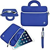 """7""""/8"""" Tablet Sleeve Neoprene Case Cover (Blue/White) with Handle for Apple"""
