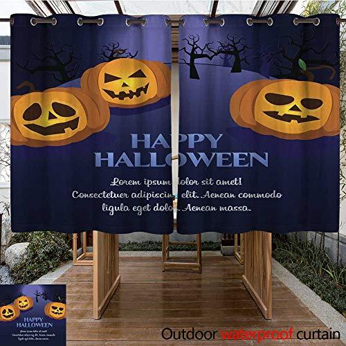 (RenteriaDecor Outdoor Curtains for Patio Waterproof Halloween Pumpkin Postcard W84 x)