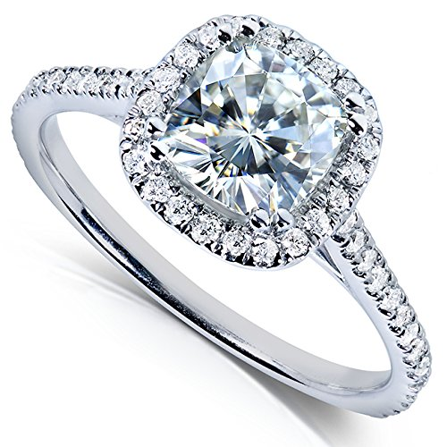 Cushion cut Moissanite & Diamond Engagement Ring 1 1 3 Carat ctw in 14k