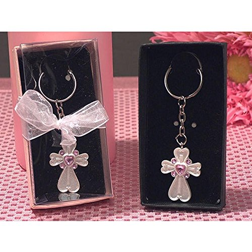White Cross Keychain with Pink Crystals - 36 Pieces by Cassiani