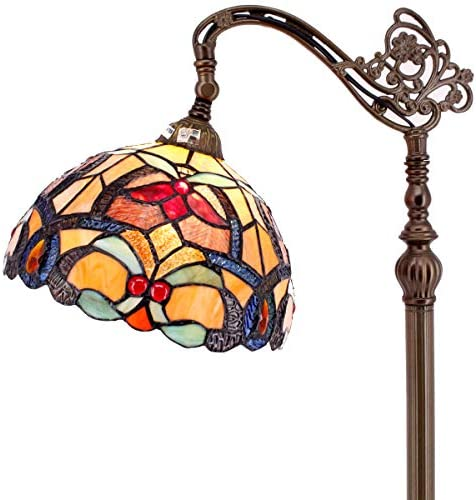 Tiffany Style Reading Floor Lamp Orange Stained Glass Crystal Bead Liaison Lampshade 64 Inch Tall Antique Arched Base Decorate Bedroom Living Room Lighting Table Gifts S617 WERFACTORY