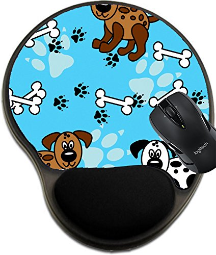 Price comparison product image MSD Natural Rubber Mousepad wrist protected Mouse Pads/Mat with wrist support design: 13376816 Cute and fun spotted cartoon dogs with paw prints and bones that can be as borders or full wallpaper patt