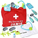 Customizable Pretend Play Doctor Set with Custom Doctor Coat and Bag - Light Up Stethoscope, Needle, Thermometer, etc. Educational Toy