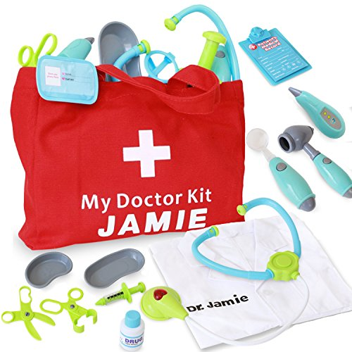 Dreamy Accessories Customizable Pretend Play Doctor Set with Kids Lab Coat and Bag - Light Up Stethoscope, Needle, Thermometer, Doctor Kit for -