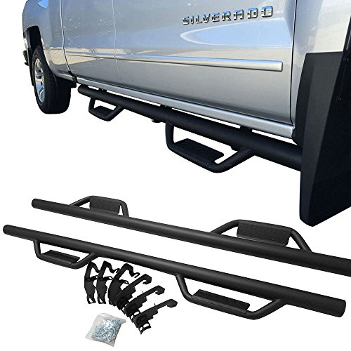 Nerf Bar Fits 2007-2018 Chevy Silverado & GMC Sierra Crew Cab Only | V1 Style Side Step Bar Running Boards Black by IKON MOTORSPORTS | 2008 2009 2010 2011 2012 2013 2014 2015 2016 2017 (Side Style Steps)