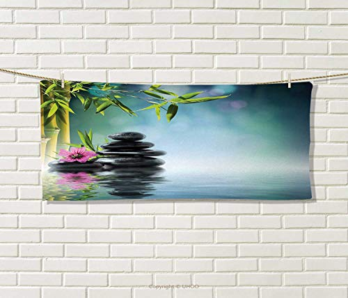 """Anniutwo Zen Garden,Travel Towel,Pink Flower Spa Stones and Bamboo Tree on The Water Relaxation Theraphy Peace,100% Microfiber,Multicolor Size: W 12"""" x L 27.5"""""""
