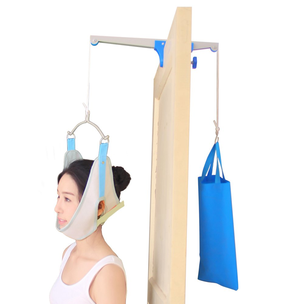 Carejoy Over Door Cervical Traction, Door Suspension Cervical Traction Frame with Sand Bag for Neck Back Relaxation, Spine Stretch Treatment, Chiropractic Corrector