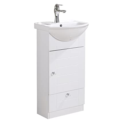 Small Bathroom Vanity Sink Cabinet Vitreous China Sink Comes With Faucet And Drain Assembly Required Install Hardware Included Renovators Supply