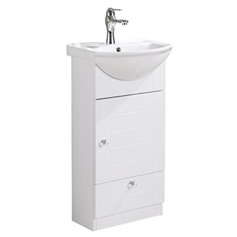 Small Bathroom Vanity Sink Cabinet Vitreous China Sink Comes With Faucet  And Drain Assembly Required Install Hardware Included Renovators Supply ...