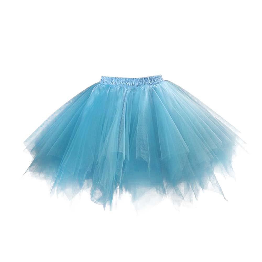 VKStar® Retro Damen Kurz Rock Ballett Einheitsgröße Vintage Petticoat 50er Unterrock Reifrock Mehrfarbige Unterröcke FF222Blau
