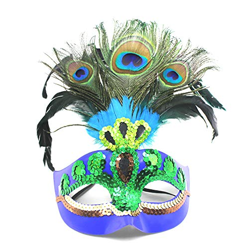 Orityle Sequins Faux Peacock Feather Masquerade Eyemask Creative Halloween Masks for Women Girl Lady