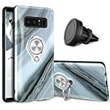 eSamcore Samsung Galaxy Note 8 Case - Luxury Marble Ring Holder Phone Cases + Magnetic Vent Car Phone Mount [Granite Gray]