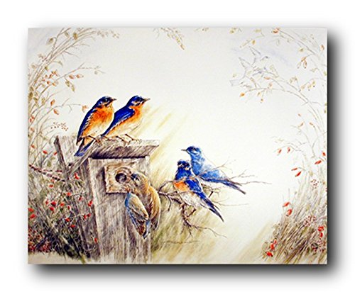 Bluebirds on Tree Feeder Bird Paintings Picture Wall Decor Art Print Poster (Bird Feeder Tree Art)