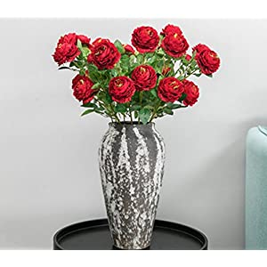 Skyseen 5PCS Silk Flower Artificial Cabbage Rose Flower for Home Decoration Office Decor,Red 68