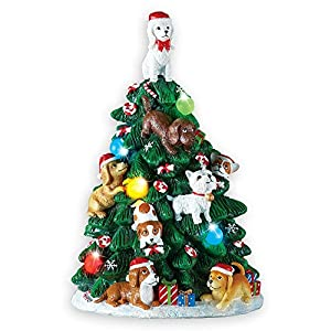 Collections Etc Dog Lighted Tabletop Christmas Tree Decoration 46