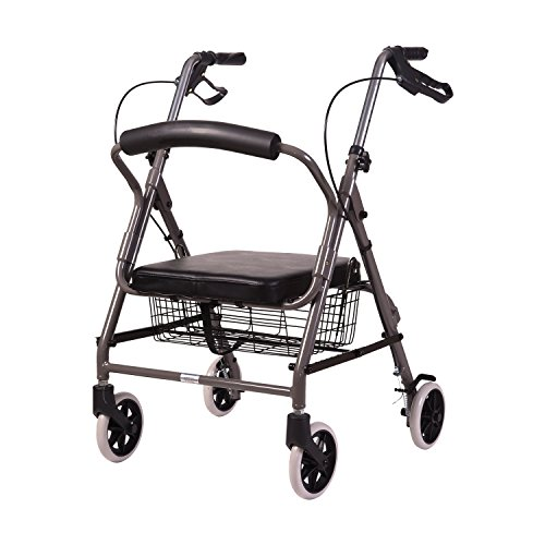 DMI Ultra Lightweight Folding Aluminum Hemi Rollator with Padded Seat, Basket and Adjustable Handle Height, Mobility Walker, Easily Fords, 300 Pound Weight Capacity, Titanium