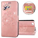 IKASEFU Huawei P8 lite Case,Clear Crown Rhinestone Diamond Bling Glitter Wallet with Card Holder Emboss Mandala Floral Pu Leather Magnetic Flip Case Protective Cover for Huawei P8 lite,Rosa Gold