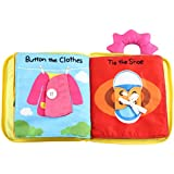 Cloth Book for Babies, 3D Quiet Book My First Fabric Book Soft Touch Non-Toxic Washable Activity Cloth Books Perfect Best Early Educational Toy for Toddlers, Preschool Boys and Girl