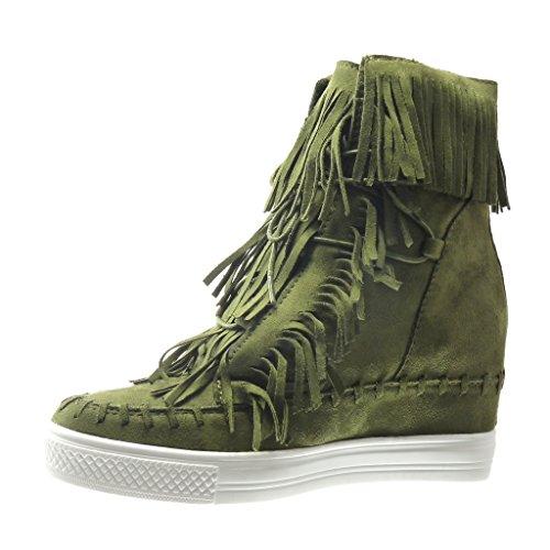 Angkorly - Chaussure Mode Basket Compensée femme frange pom-pom Talon compensé plateforme 8 CM - Vert