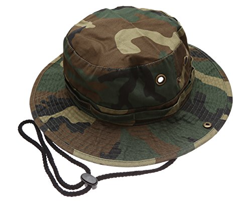Summer Outdoor Boonie Hunting Fishing Safari Bucket Sun Hat with Adjustable Strap(Woodland,LXL)]()