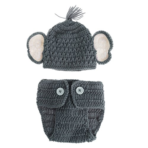 Qupida Newborn Baby Elephant Knit Crochet Hat Costume