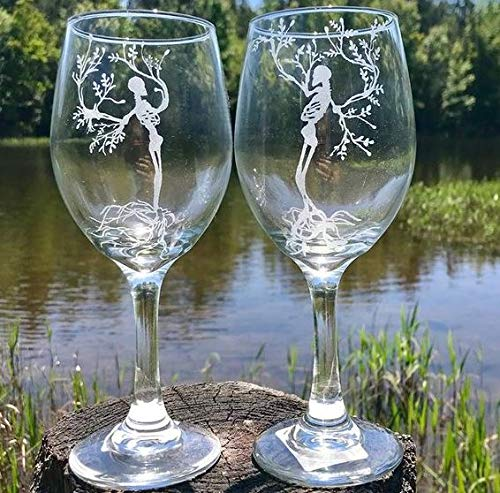 Two - His and Hers, Skeleton Tree of Life, engraved 14 oz wine glasses (Gothic Wedding Wine Glasses)