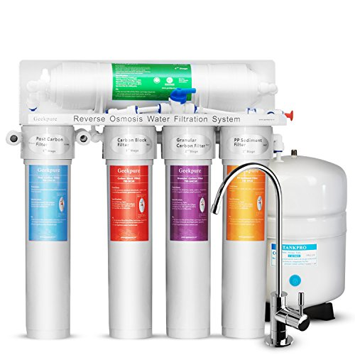Geekpure 5 Stage the Best Simplest Installation Reverse Osmosis Drinking Water Filter System with Twist Filters-75GPD