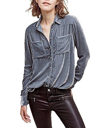 HaoDuoYi Womens Velvet Boyfriend Button Down Top Shirt
