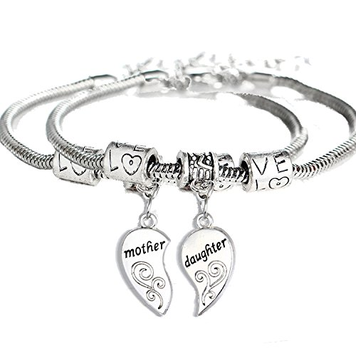 2PCs Matching Heart Mother Daughter Bracelets Mother Daughter Jewelry Set Gift for Mom or (Mom Daughter Jewelry)