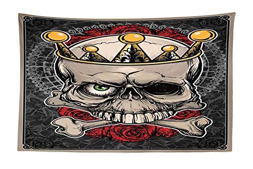 Lohebhuic Gothic Tapestry Skull with Crown Roses Bones Dead King Halloween Illustration Art Fabric Wall Hanging Decor for Bedroom Living Room Dorm ()