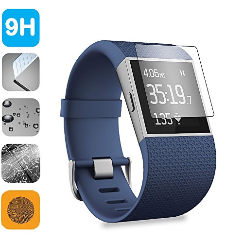 Fitbit Surge Screen Protector, YaSaShe Premium Tempered Glass HD Ultra Clear Anti-Bubble for Fitbit Surge ()