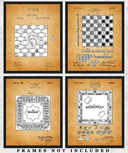 Vintage Board Games Patent Wall Art Prints: Unique Room Decor for Boys, Men, Girls & Women - Set of Four (8x10) Unframed Pictures - Great Gift Idea for Game Room (Board Game Art)
