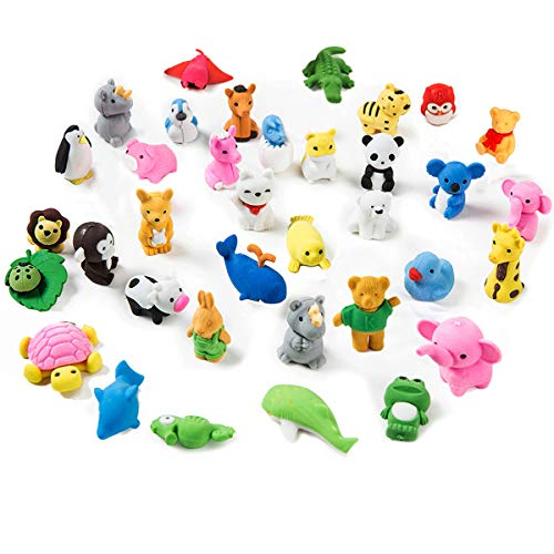 ISIYINER Pencil Erasers for Kids Cartoon Animal Puzzle Eraser Mini Novelty for Classroom Rewards, Party Favors, Games Prizes, Carnivals Gift and School Supplies (35pcs)