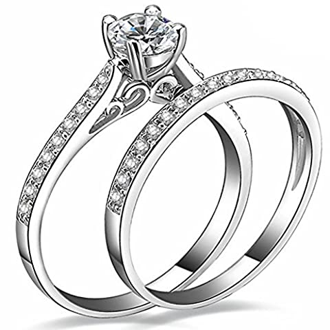 FENDINA Womens 925 Sterling Silver Plated Wedding Engagement Ring Set CZ Crystal Solitaire Anniversary Best Promise Rings for Her Size - Sterling Silver Engagement Plated Ring
