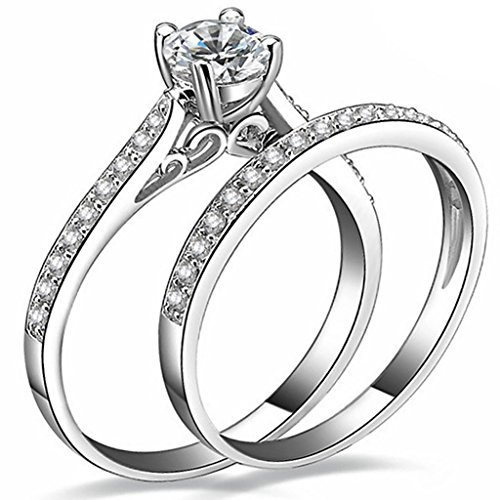 FENDINA Womens 925 Sterling Silver Plated Wedding Engagement Ring Set CZ Crystal Solitaire Anniversary Best Promise Rings for Her
