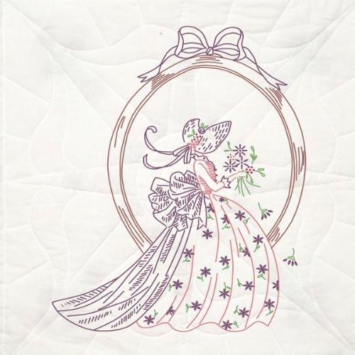 Block Quilt Design (Fairway 92105 Quilt Blocks, Lady in Mirror Design, 18 by 18-Inch, White)