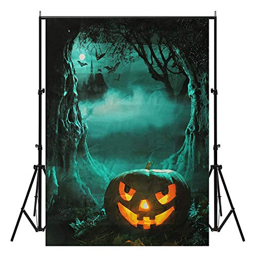 Bloomgreen Co. 5x7ft Vinyl Halloween Night Pumpkin Photography Background Photo Studio Backdrop One Piece -