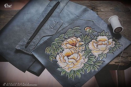 Peonies hand tooled/ hand carved wallet for women