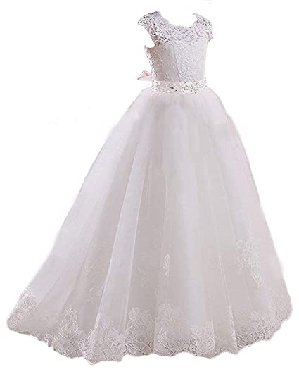 Gzcdress Vestido Blanco Para Niña De Primera Comunión Con