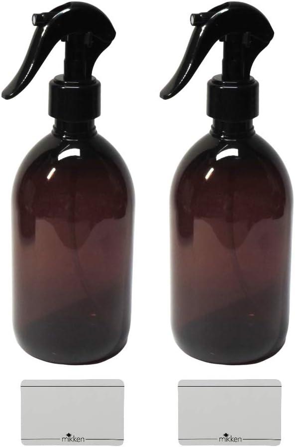 mikken 2 Spr/ühflaschen 500 ml Glas braun f/ür z.B Desinfektionsspray