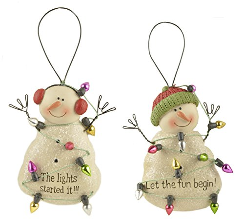 Let the Fun Begin Snowman Friends Resin Stone Christmas Ornament Set of 2