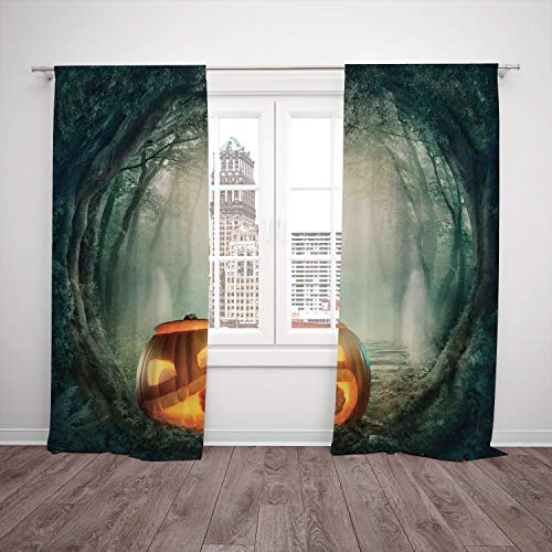 (Thermal Insulated Blackout Window Curtain,Halloween Decorations,Scary Halloween Pumpkin Enchanted Forest Mystic Twilight Party Art,Orange Teal,Living Room Bedroom Kitchen Cafe Window Drapes 2 Panel)