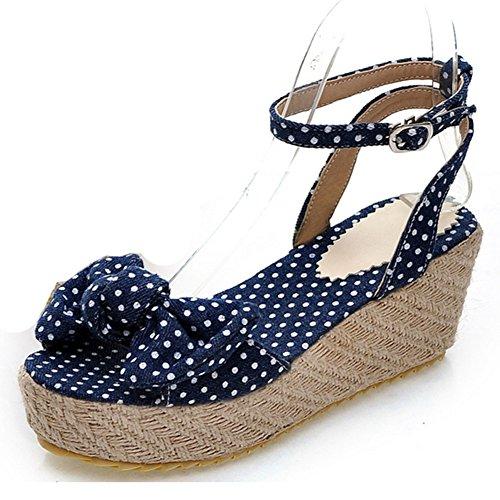 Sarairis Womens High Platform Heel Open Toe Bowknot Ankle Strap Sandals Dark Blue Size 7 5