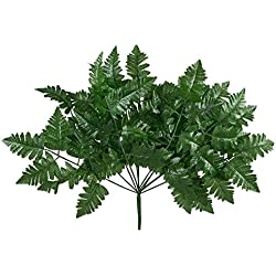 12 Leather Fern Stems Fronds ~ Filler Greenery Silk Wedding Decoration Flowers Artificial Arrangement Centerpieces