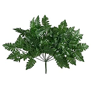 12 Leather Fern Stems Fronds ~ Filler Greenery Silk Wedding Decoration Flowers Artificial Arrangement Centerpieces 48