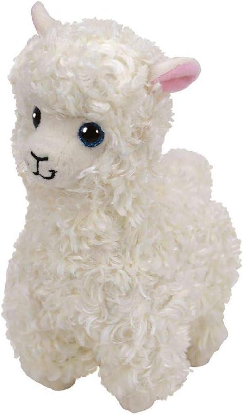 TY- Lily, Lama 15cm Beanie Babies, Color blanco, crema. (41216) , color/modelo surtido