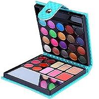 Niome Mini 32 Colors Pearl Glitter Eyeshadow Blusher Lip Gloss Pressed Powder Makeup Mini Brush Makeup Mirror Set Blue
